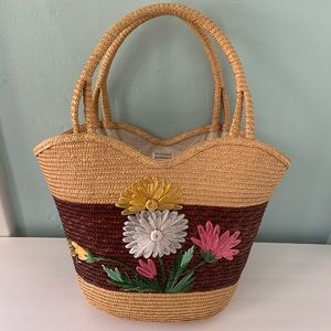 Handbags - Straw Floral Lined Double Handle Bag or Tote